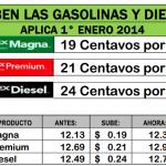 Aumenta el precio de la gasolina en enero 2014