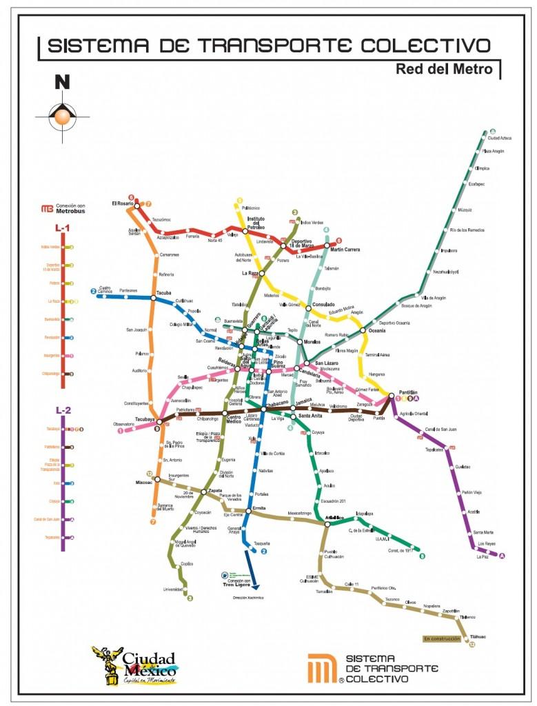mapa red metro mexico