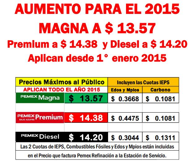 precio gasolina 2015